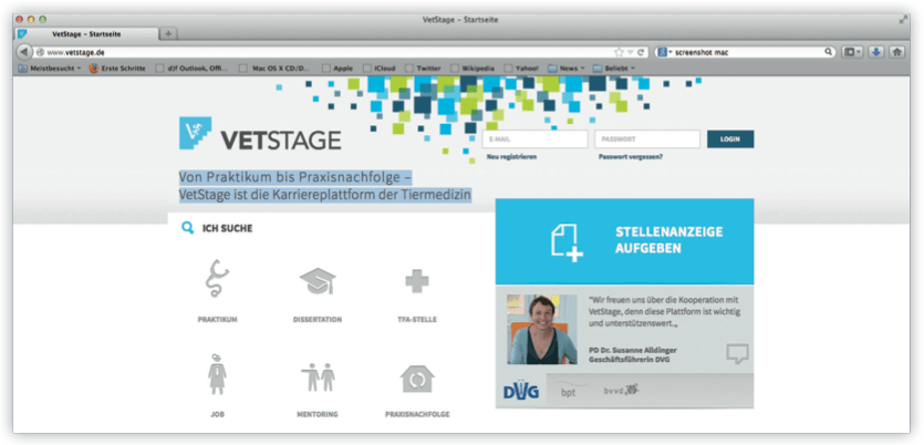 Neues Design der Kariereplattform VetStage