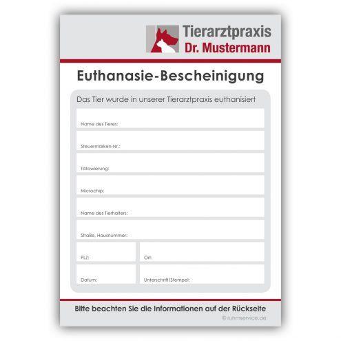 Euthanasie-Bescheinigungen Tierarzt Ruhmservice Vorderseite