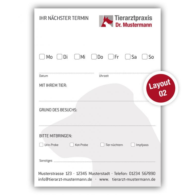 Terminzettel Tierarztpraxis - www.ruhmservice.de