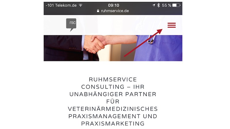 Ruhmservice Consulting - Mobile Seite