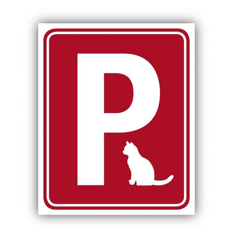 Aufkleber Katzenparkplatz Rot Ruhmservice