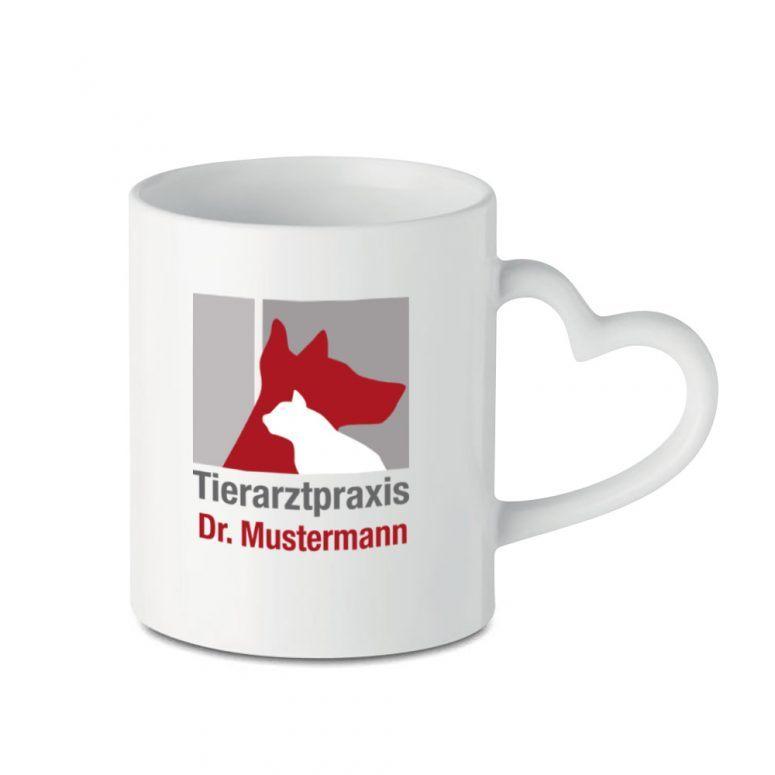 Becher Tierarztpraxis Herz Henkel Logo